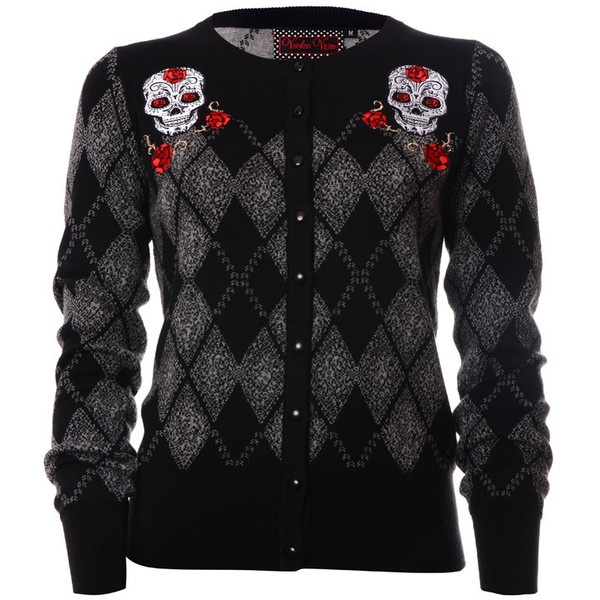 Voodoo Vixen Sugar Skull Argyle Women's Cardigan ❤ liked on Polyvore