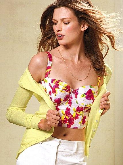 Floral-print Seamed Bra Top