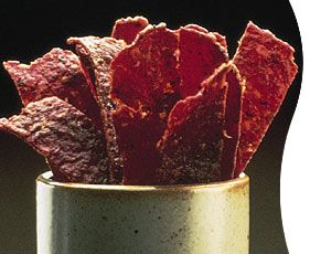 Beef jerky is a type of snack food that is made by marinating and drying meat, giving it a long shelf life and a unique flavor. Invention of this process is attributed to Native Americans who smoke-dried meat to preserve it.