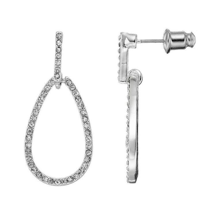 Chaps Simulated Crystal Open Teardrop Earrings, Women's, Silver