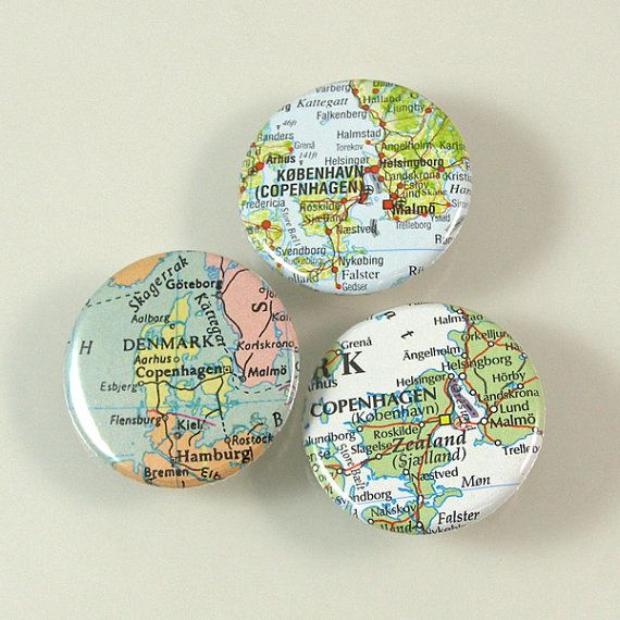 Denmark Map Pinback Buttons by XOHandworks $4.50