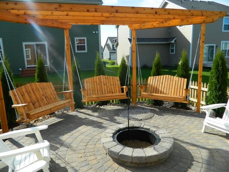 hanging swings around fire pit | How To Build Fire Pit Swing Set - Finished Fire Pit Swing Set