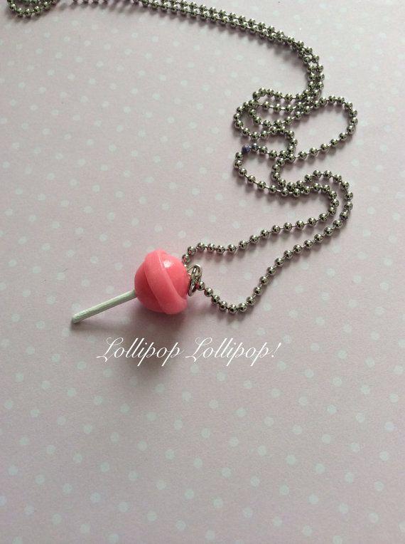 Kawaii BlowPop Inspired Charm Necklace, Kawaii Lollipop, Lollipop Charm, Fake Food Jewelry on Etsy, $8.00