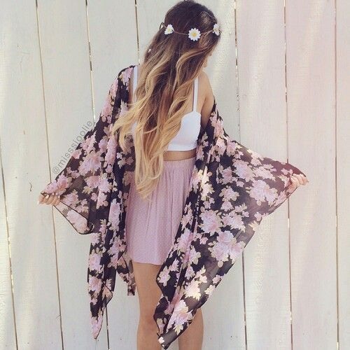 White bralet crop top, pink lilac nude flippy skirt, floral kimono and a flower crown