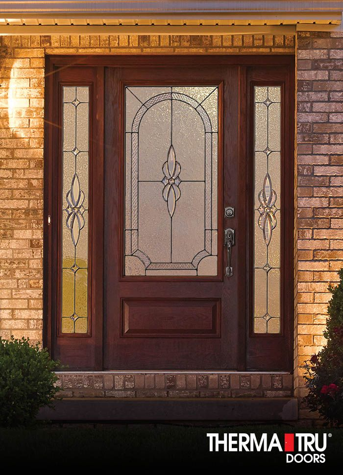 Therma-Tru Classic-Craft Oak Collection fiberglass door with Cambridge decorative glass.