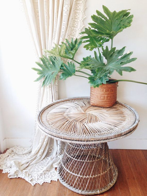 LOCAL PICKUP ONLY Vintage Wicker Dining Table- plant table, outdoor table on Etsy, $135.00