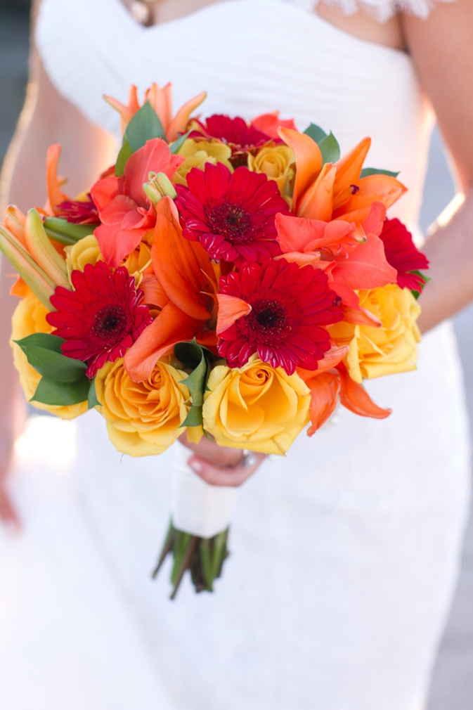 Vibrant hues of red and yellow at this sweet Savannah wedding!
