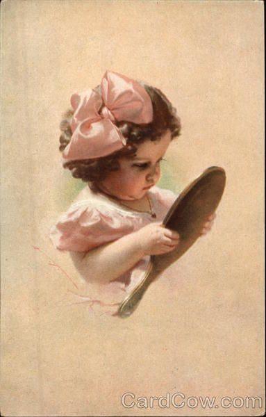 Little Girl in Pink Bow looking in a Hand Mirror Girls