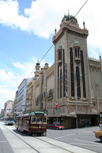 State Theatre Flinders Street Melbourne. When it opened in February 1929, the theatre had the largest seating capacity in Australia, holding 3371 people. It features a Moorish Revival exterior, with minarets and a clock tower. Fantastic gothic architecture.