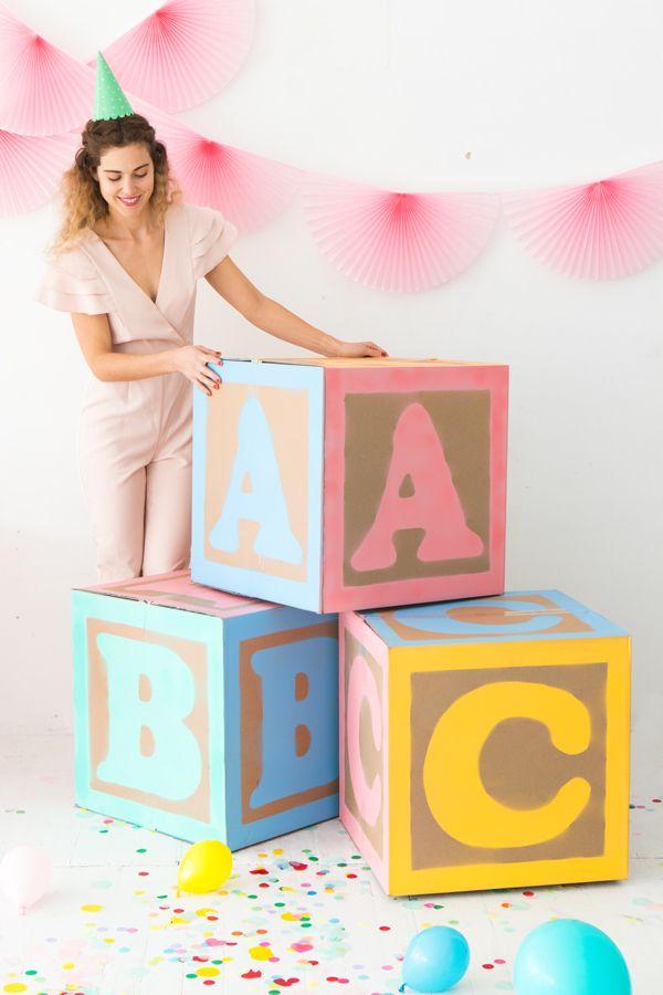 DIY Giant Baby Block Decorations
