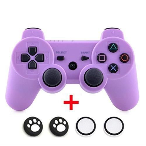 Bluetooth Wireless Dualshock PS3 Remote Game Gaming Controller Gamepad Consoles Joypad Joystick for Sony Playstation III with 6-Axis And Dual-Vibration (Purple)