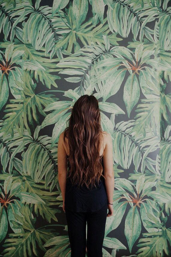Banana Leaf Large Wall Mural Watercolor Mural by anewalldecor