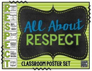 All About RESPECT! Classroom Poster Set with Strategies for SchoolDo your students need strategies to help them with respect? In and around school, with friends and teachers, during competitive times, the list is endless.This isnt Arethas R-E-S-P-E-C-T anthem, but you can use this to help students under what respect is.This poster set reinforces the ideas and understanding of RESPECT.