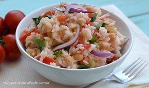 riso freddo,insalata di riso,riso freddo con ceci e rucola,le ricette di tina