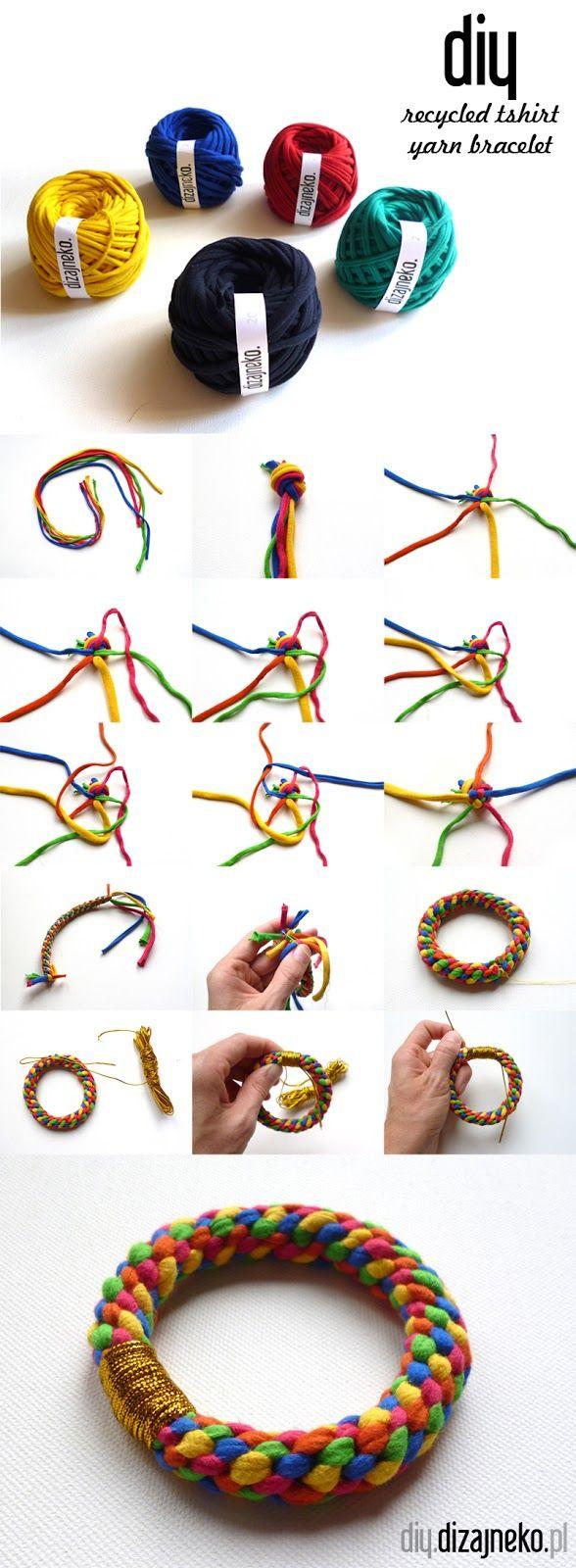 recycled tshirt yarn bracelet
