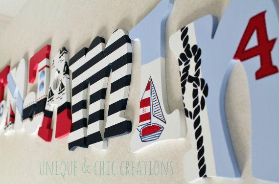 Regata de rojo azul marino y blanco pintado a mano por KraftinMommy