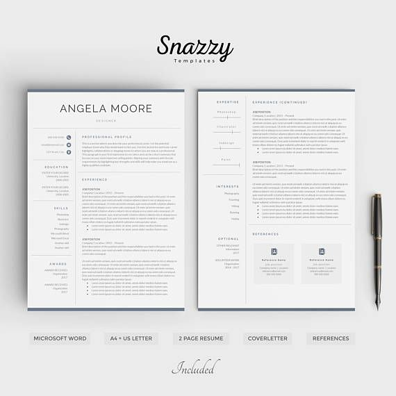 ▌JUST LAUNCHED: All resumes 70% off, $20 --> $6 ▌   ............................................................................................................................  THIS IS SNAZZY TEMPLATES! I work to create creative designs that will stand out in the hans of a potential