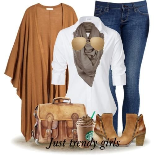 tan cardigan with white blouse outfit, Women Casual wear in winter http://www.justtrendygirls.com/women-casual-wear-in-winter/