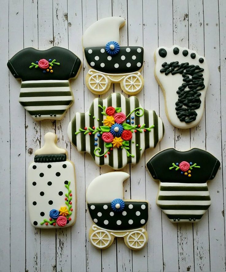Baby Shower Cookies Pram Onesie Bottle Pram Foot Plaque Flowers Spots Stripes