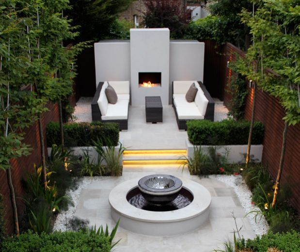 small yard w/fountain. I'd replace fountain with a plunge pool