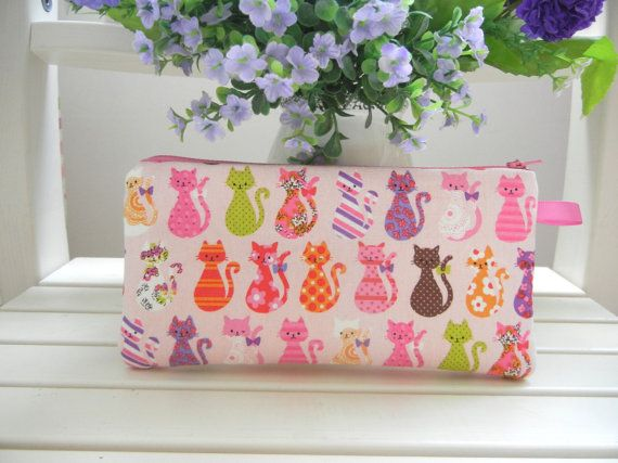Cat Pencil case Clutch Zipper pouch Cosmetic by CatmotherHandmade, $10.00