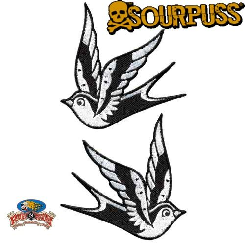 Add a little flash to your boring jacket or bag with a pair of these Sparrow patches! This set includes two black & white traditional tattoo-inspired sparrows. You can adhere your patch with an iron and reinforce with sewing.