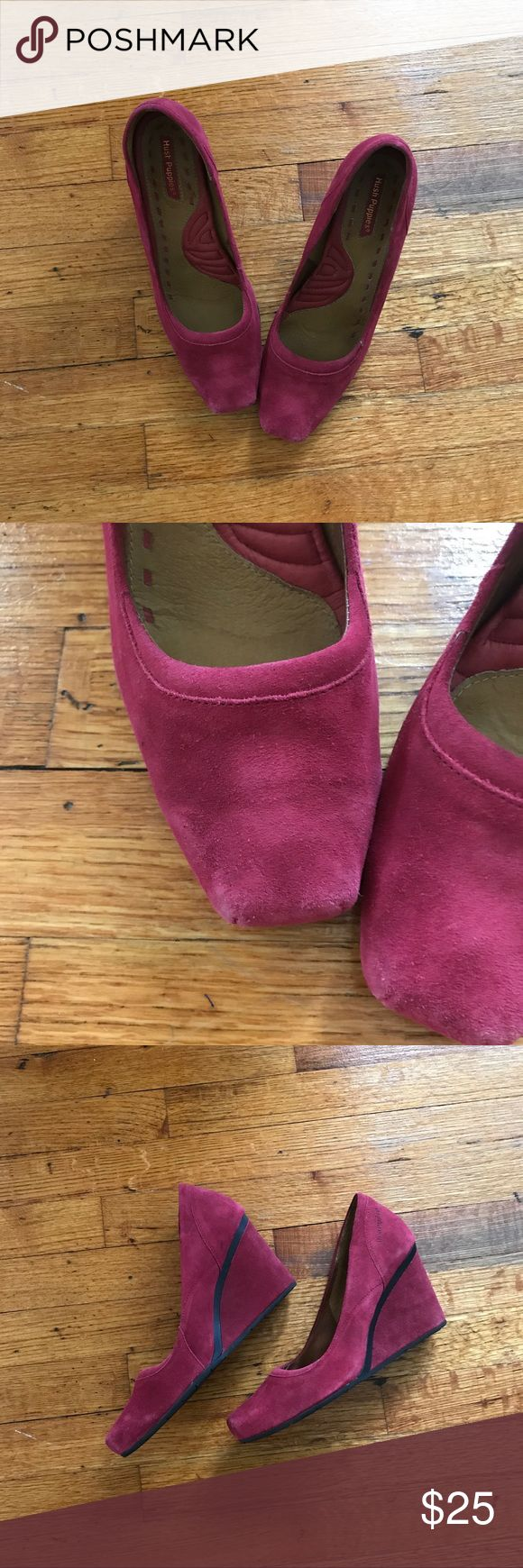 Hush Puppies | Magenta Wedge Heels size 10 Whoa! Magenta is killer gorgeous! These suede wedge heels with a square toe are just what you're looking for this fall! 🍁 Slip these comfortable stylish heels on! There is some additional wear behind the right heel, likely from driving:) *Preloved items may show signs of wear. See all pictures.* Hush Puppies Shoes Wedges