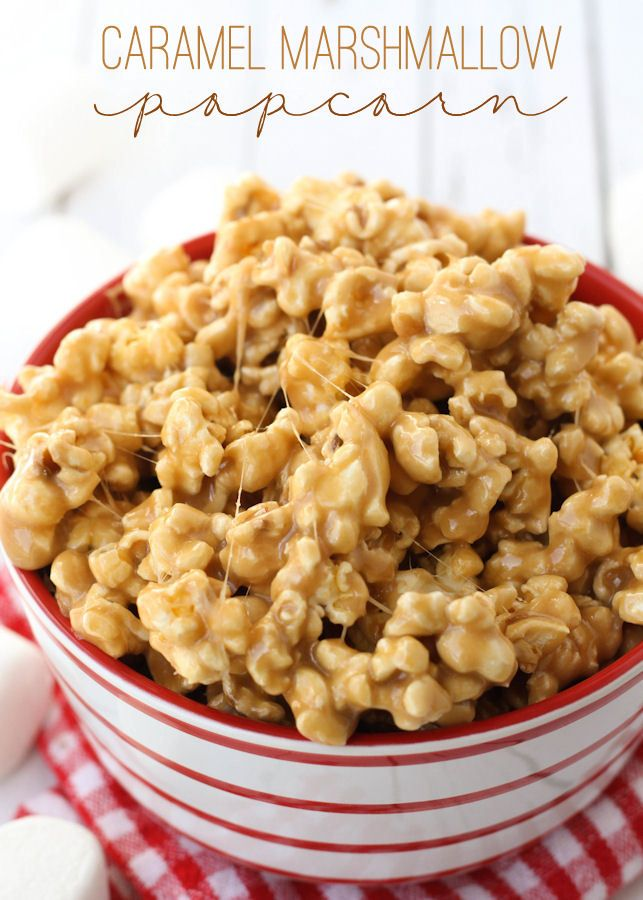 Super Gooey and Delicious Caramel Marshmallow Popcorn recipe on { lilluna.com } Ingredients include popcorn, butter, brown sugar, light corn syrup, and marshmallows!