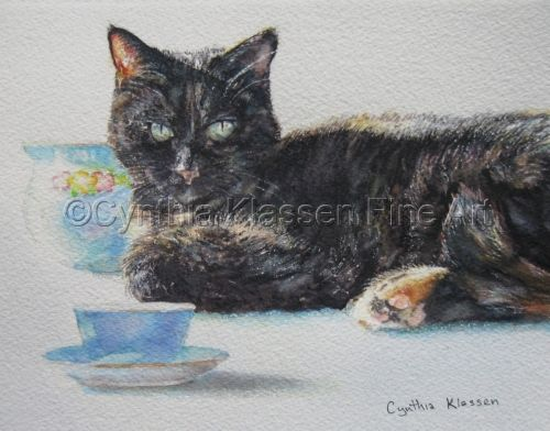 Portrait Commission     I painted this watercolor portrait to commemorate my dear old tortoiseshell cat Friskey, who is sadly no longer with us. Tea cups are a theme that show up in many of my paintings. Order commissions through CynthiaKlassen.com.