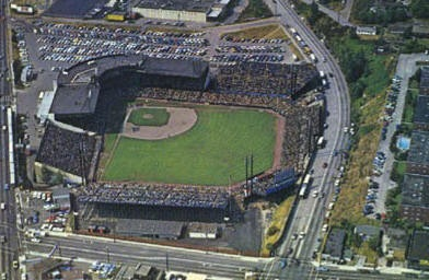 Home of the Seattle Pilots for one year Sicks Stadium opened in 1935. Originally, the stadium was built for the Seattle Rainers of the Pacific Coast League. It's now a hardware store.