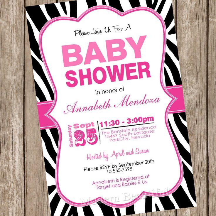 Pink And Black Zebra Baby Shower Invitations