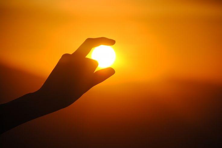 mână, siluetă, soare, apus de soare