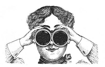 Fabulously Quirky Lady with Binoculars - Vintage Steampunk Image - The Graphics Fairy