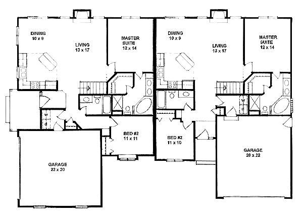 Duplex Plan chp-25880 at COOLhouseplans.com slightly different floor plans--1106 sq.ft/side,2BR,2BA--good for a corner lot