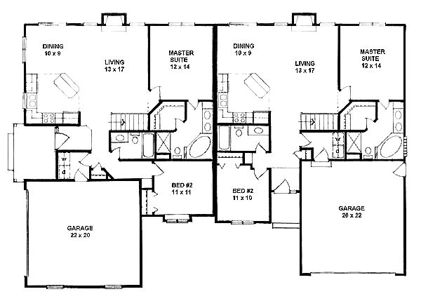 25 best ideas about duplex house plans on pinterest for Single story duplex