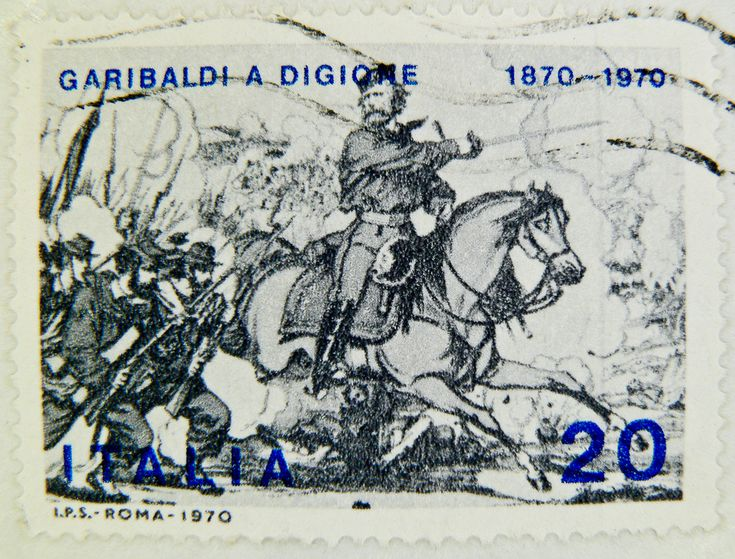 stamp Italy timbre Italie 20 Lire Posta Poste Italiane 20 Lire Garibaldi 1870 1970