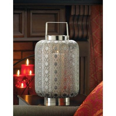 Tall Silver Lace Design Candle Lamp. ECA Listing By JV's Bargain Treasure Chest, United States