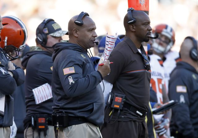 Cowboys vs. Browns:  35-10, Cowboys  -   November 6, 2017:    Hue Jackson of the Cleveland Browns looks on from the sideline against the Dallas Cowboys at FirstEnergy Stadium on November 6, 2016 in Cleveland, Ohio. (Photo by Gregory Shamus/Getty Images)