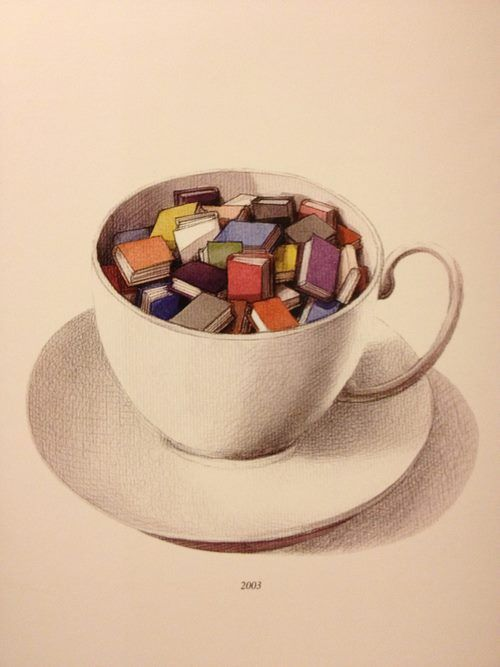 A good old cup of books -- illustrator unknown. #reading #books Get a FREE book straight to your inbox