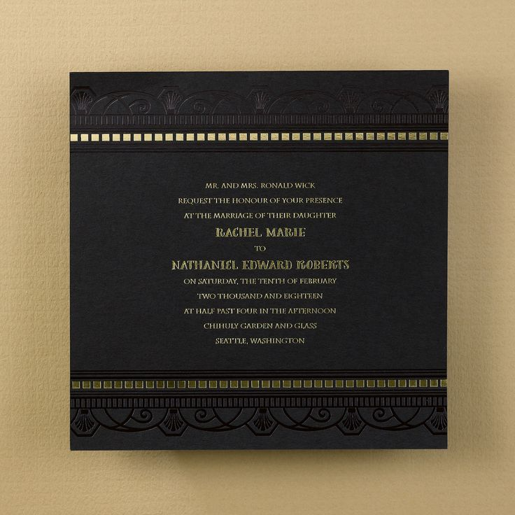 what does it mean when wedding invitation says black tie invited%0A The contrast of black and gold gives off some ritzy style for this  invitation