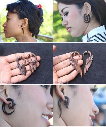 #Pin our Fake #Piercing #Earrings  #RePin #etsy #fakegauge http://ayujewelry.etsy.com