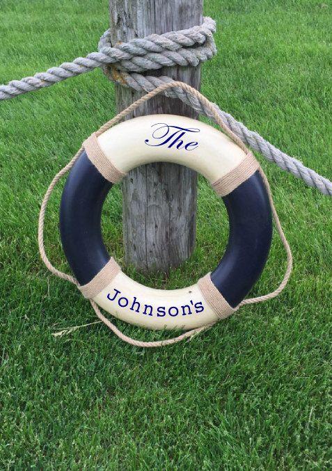 Custom Last Name Blue Vintage Nautical Life Ring - White and Blue - Nautical decor, Personalized Last Name beach decor lifering by ParadiseDecor on Etsy https://www.etsy.com/listing/247404418/custom-last-name-blue-vintage-nautical