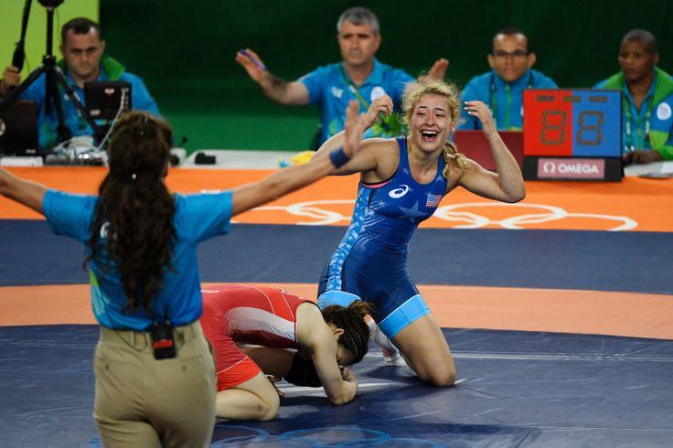 Helen Maroulis of the United States reacts to defeating Saori Yoshida of Japan…