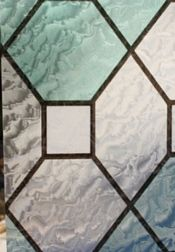 Faux stained / leaded glass privacy film for the bathroom window.