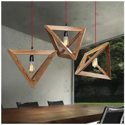 Lampadario in legno a triangolo Nordic Wood di vintagemegashop