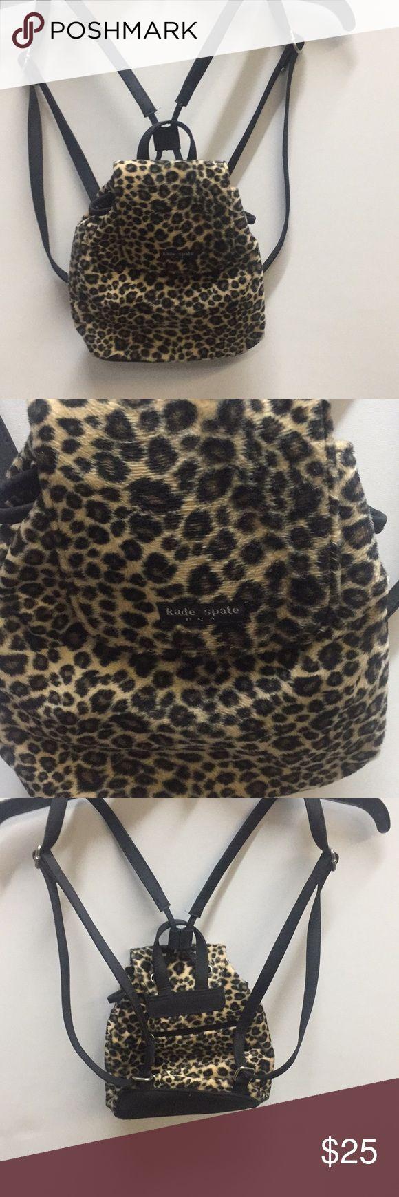 Leopard Print Kate spate Backpack Purse. Leopard print backpack with a small zipper pocket inside. kate Spate Bags Backpacks