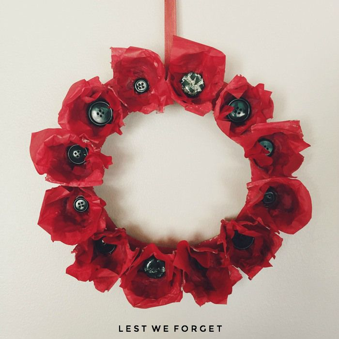 Anzac Day Easy Kids Craft, Anzac Day, Anzac Paper Poppy Wreath, NANNYSHECANDO