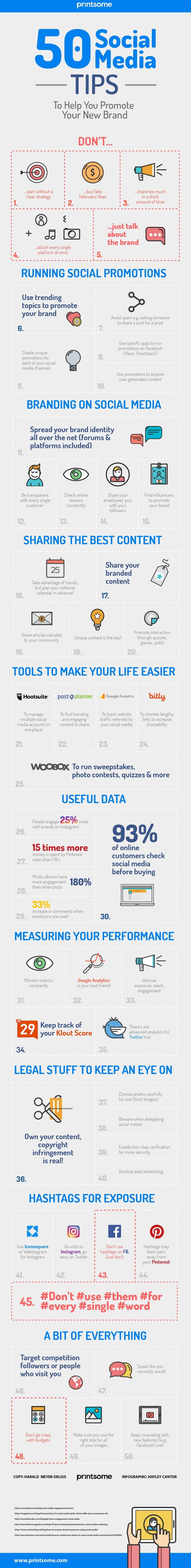 50 Social Media Tips to Help You Promote Your New Brand - #infographic #socialmedia