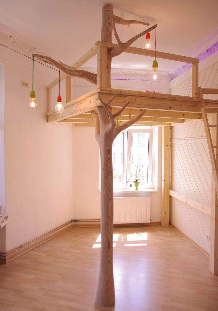 Een echte boomhut in je slaapkamer...hoe stoer !!