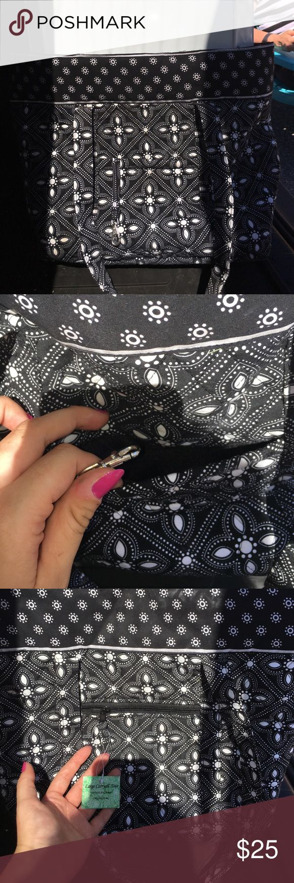 Black Tote FOR sale Brand new, tags still on, never used, great for the beach and just to have around for new moms because it's spacious to hold diapers; could be used for pretty much anything! Pockets and zippers on the inside and the outside. Bags Totes